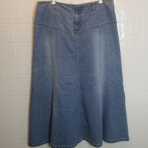 Faded glory modest long jean skirt size 14